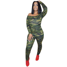 new hot sexy camouflage jumpsuit fashion womens trousers military uniform army green long-sleeved tight