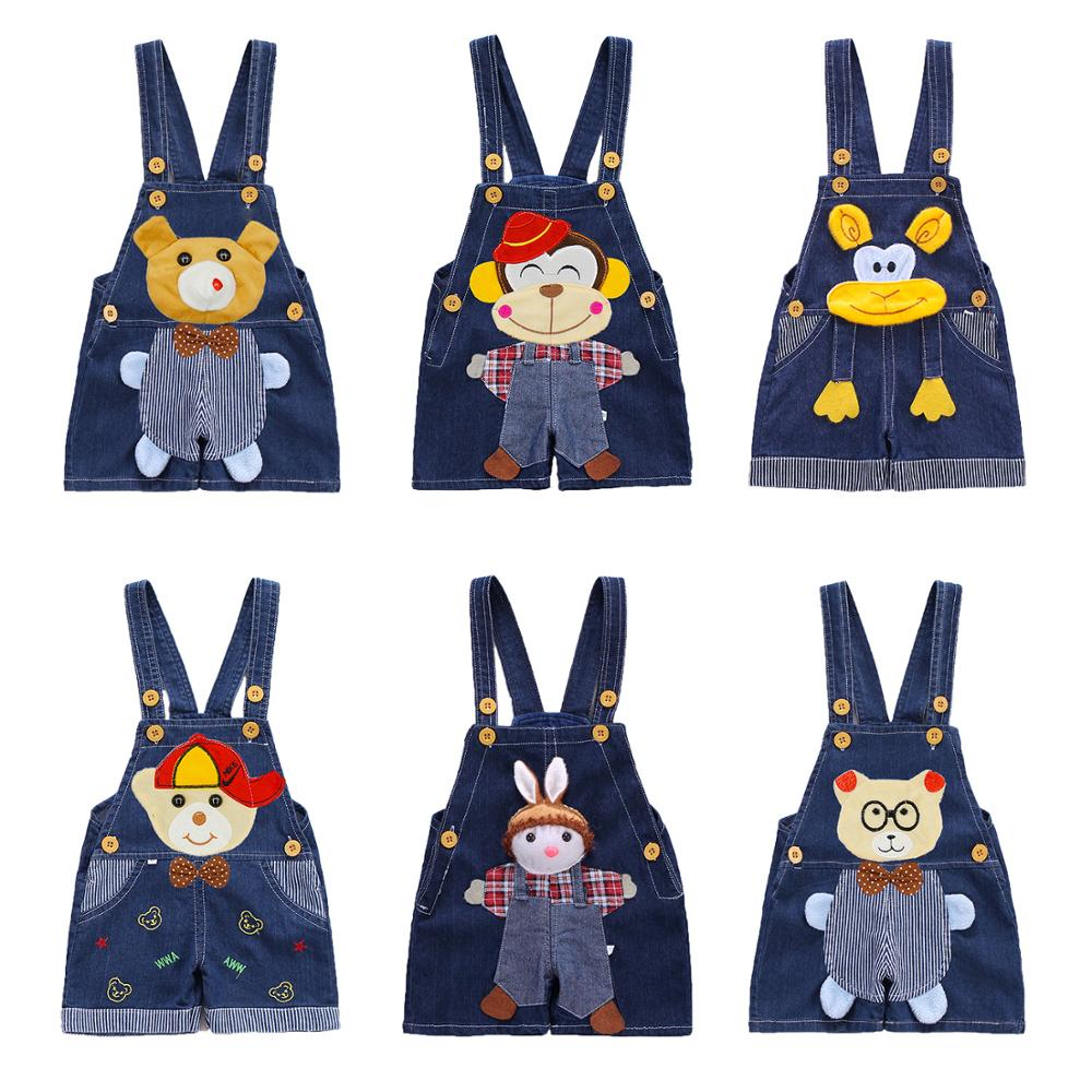 2017 Summer Baby Boys Girls cartoon Overalls Denim Pants Children Unisex Jeans Jumpsuit Pants Kid Clothing(China)