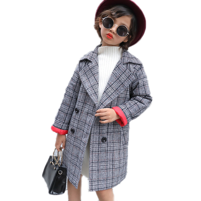 купить baby girls autumn winter wool jackets 2018 double breasted toddler girl suit jacket small plaid long section girls trench coat по цене 2268.4 рублей