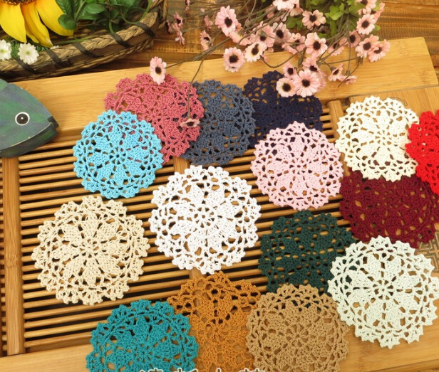 5pcs Handmade 10cm Vintage Lace round shaped placemats love hand crocheted cotton doilies colorful flower shaped cotton pads in Mats Pads from Home Garden