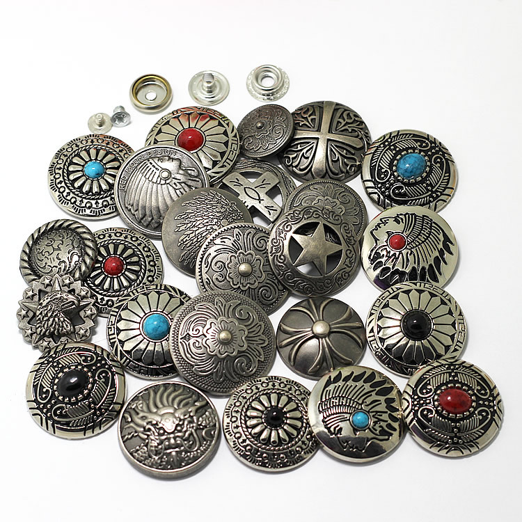 Snap Button Silver  Metal Buttons Nail Rivet With Bead Decoration For Leathercraft Bag Snap Fastener Leather Sewing Accessories