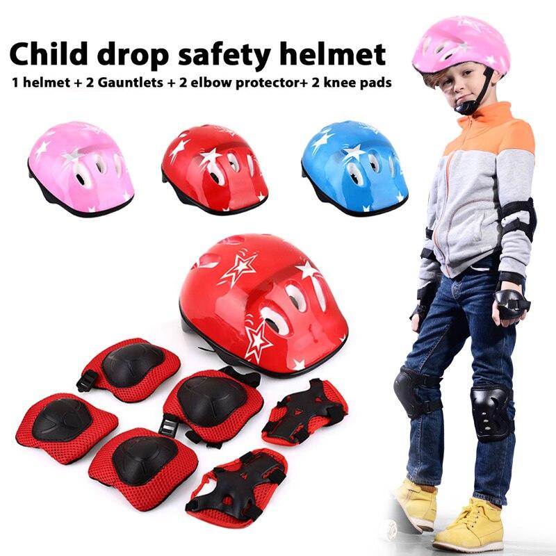 Children Bike Helmet 7Pcs Ice Skating Protective Gear Protective Knee Pads Wrist Pads Protective Helmet Riding Protection