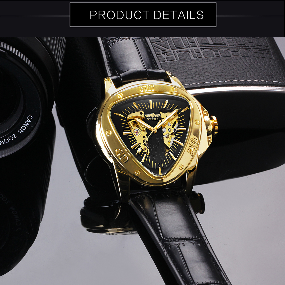 HTB1SyNHKv1TBuNjy0Fjq6yjyXXaa WINNER Official Sports Automatic Mechanical Men Watch Racing Triangle Skeleton Wristwatch Top Brand Luxury Golden + Gift Box