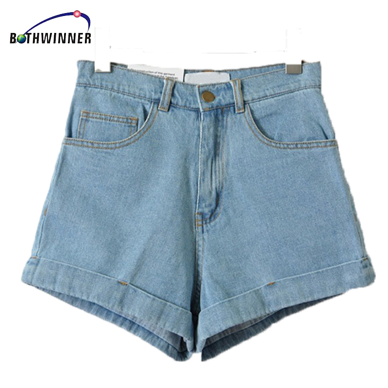 Bothwinner High Waist Denim Shorts For Women 2019 Brand Style Shorts Jeans Women Denim Shorts Feminino Slim Hip Plus Size