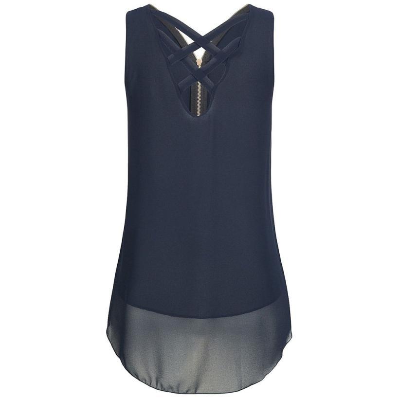 Large size S-5XL European American women's t shirt Cros T-shirt leisure wild fashion sexy V-neck back zipper sleeveless Topss