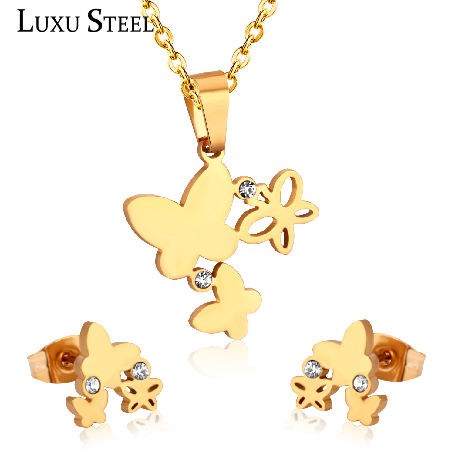 LUXUSTEEL Cute <font><b>Jewelry</b></font> <font><b>Sets</b></font> <font><b>Stainless</b></font> <font><b>Steel</b></font> Butterfly Pendant Necklace Earring <font><b>Sets</b></font> With Cubic Zirconia <font><b>For</b></font> <font><b>Women</b></font>/Girl Bijoux image