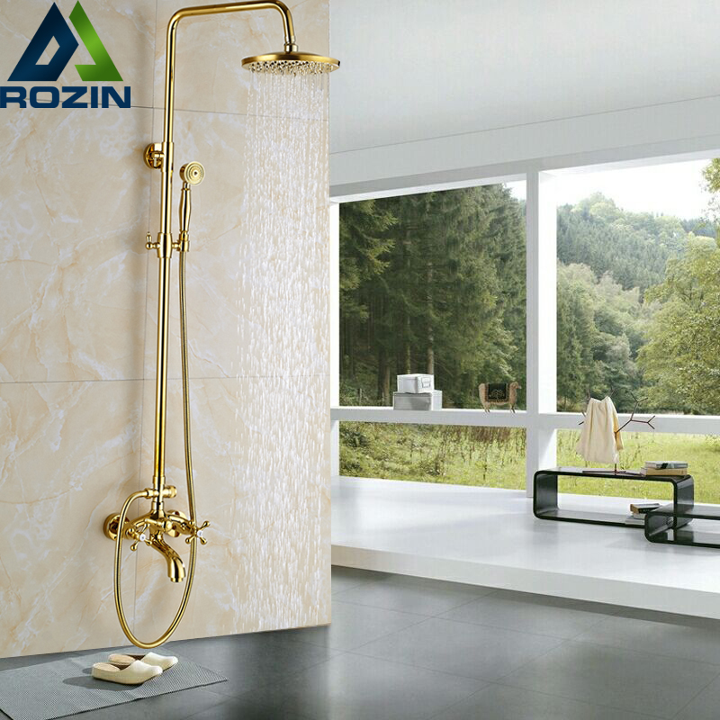 Luxury Golden Bathroom Shower Mixer Taps Wall 8 Rainfall Bath Shower Faucet Set W/ Handshower Tub Spout sognare new wall mounted bathroom bath shower faucet with handheld shower head chrome finish shower faucet set mixer tap d5205