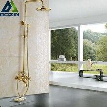 """Luxus Goldene Badezimmer Dusche Mischbatterien Wand 8 """"Bad Dusche Wasserhahn Set W/Handbrause Badewanne Auslauf"""