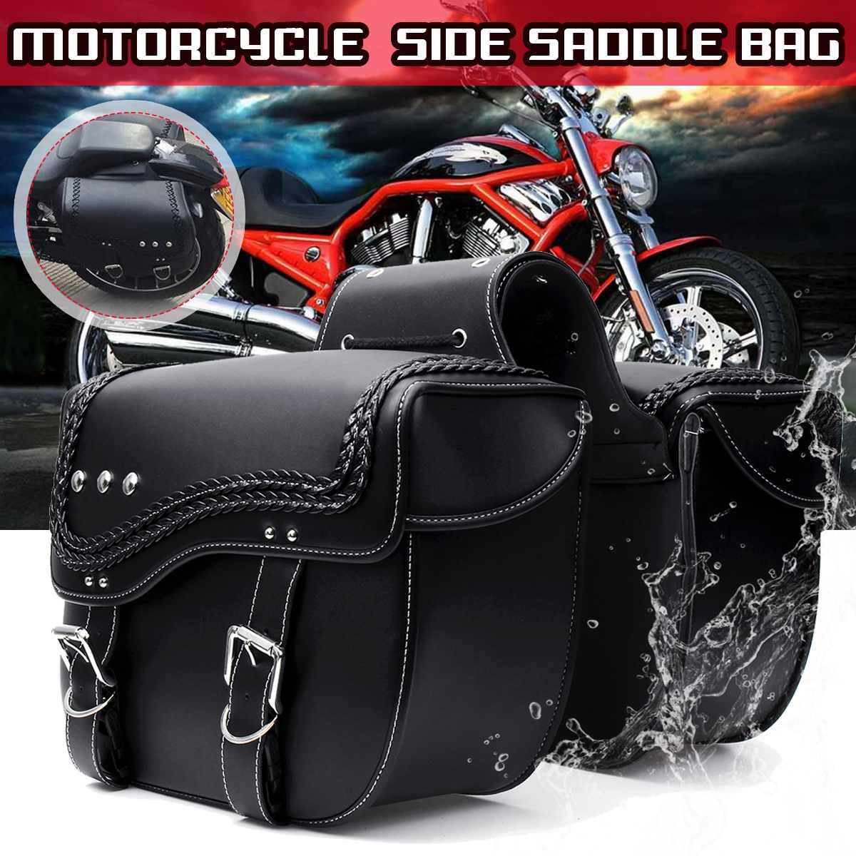 Motorcycle Black Bobber PU Leather Side Tool Bag Luggage Saddlebag Storage Pair
