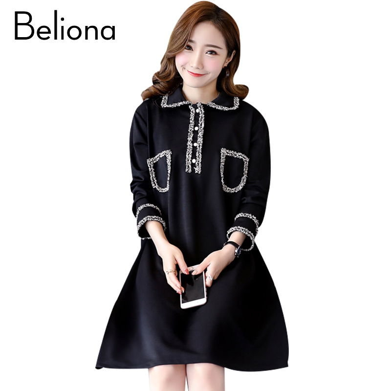 Fashion Maternity Dress Cute Pregnancy Clothes Loose Long Sleeve Maternity Clothing Of Pregnant Women Spring Autumn Black