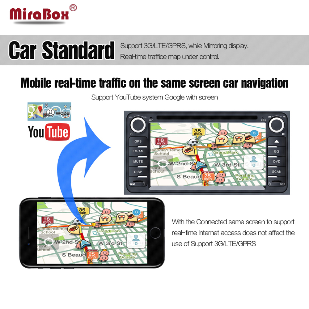 For iOS11/10 Android Car WiFi Display Mirror Box for Car Video Audio Miracast DLNA Airplay Screen Mirroring Wireless Mirror Link vancago car wifi mirror box display android ios miracast dlna airplay transfer gps video audio games to car dvd player
