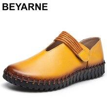 BEYARNENew حجم كبير جلد طبيعي حذاء مسطح امرأة اليدوية أحذية جلدية بدون كعب الصيف حذاء كاجوال امرأة الشقق zapatos mujerE050