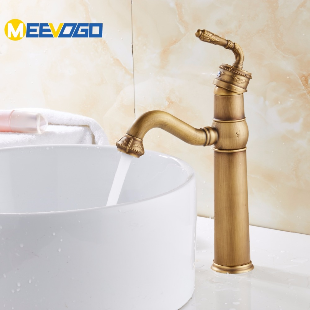 MEEVOGO Euro Style Carve Patterns Antique Basin Faucet Retro ...