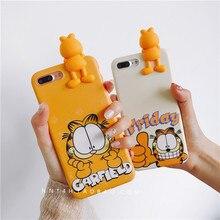 Мультфильм лежал чехол для iPhone 7/7 Plus для iPhone 6 6splus задняя крышка случаях Симпатичные желтый Кот Мягкие Полная защита 3D Kawaii Гарфилд