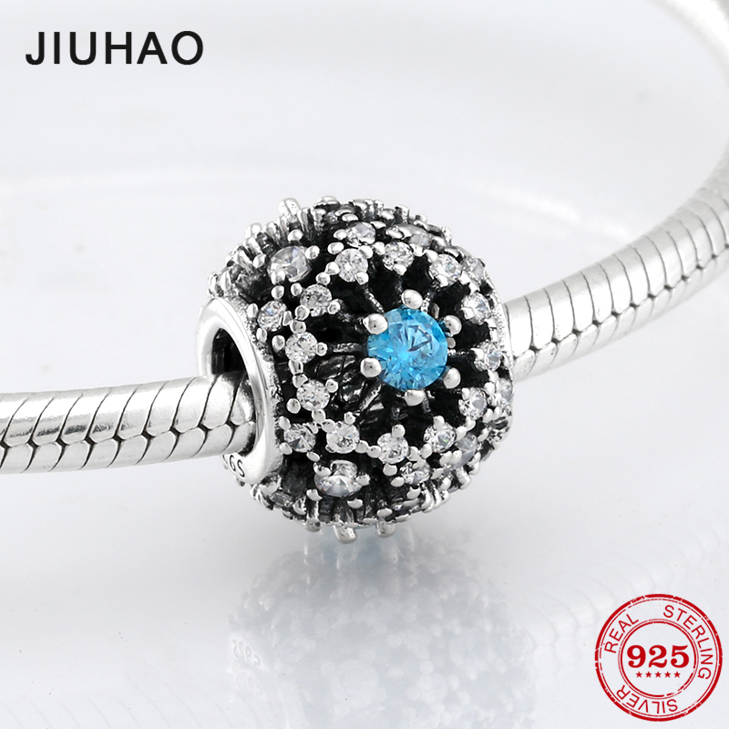 New 925 Sterling Silver fashion luxury sky-blue CZ beads Fit Original Pandora Charm Bracelet Jewelry making
