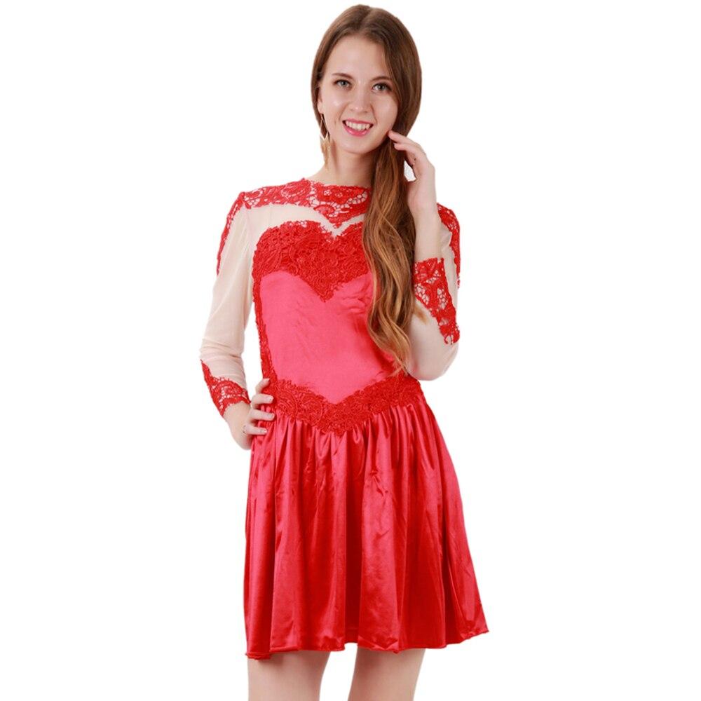 Women Sexy Club A Line Party Dress Ladies Long Sleeve O Neck Embroidered Autumn Vestidos Fashion See Through Elegant Short Dress