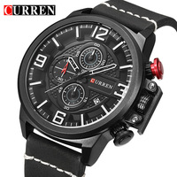 CURREN Sport Mens Watches Top Brand Luxury Date Leather Chronograph Waterproof Military Quartz Wrist Watches Relogio