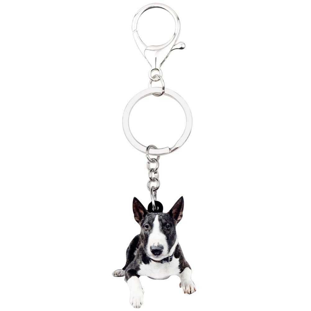 Bonsny Acrílico American Pit Bull Terrier Cão Chaveiro Chaveiro Anéis Jóias Animal Bonito Para Mulheres Meninas Bolsa Encantos Granel