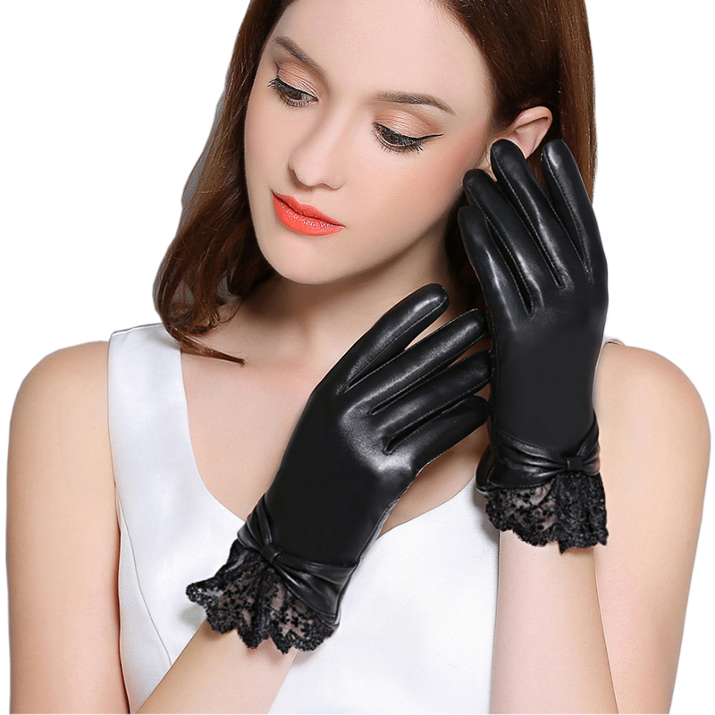 Genuine Leather Gloves Women Winter Plus Velvet Thicken Fashion Black Wrist Lace Driving Touchscreen Sheepskin Gloves F8008