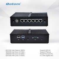 Qotom Mini PC Q500G6-S05 con Celeron Core i3 i5 i7 AES-NI 6 Gigabit NIC Router Firewall Linux Ubuntu Fanless PC