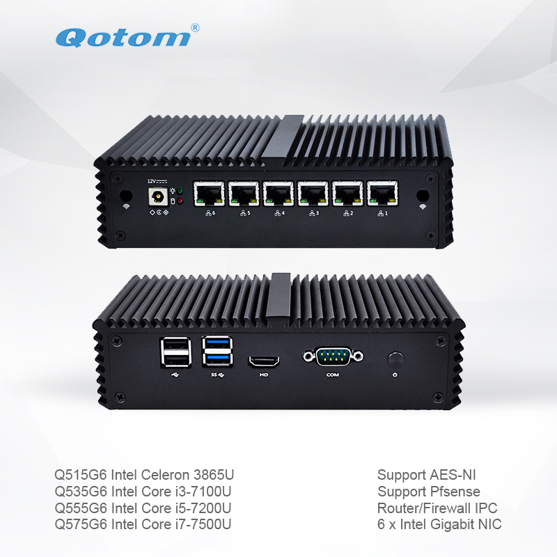 Qotom Mini PC Q500G6-S05 With Celeron Core I3 I5 I7 AES-NI 6 Gigabit NIC Router Firewall Support Linux Ubuntu Fanless PC