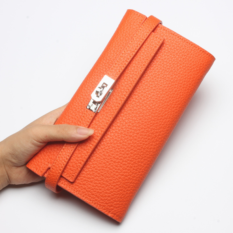 Women's New First Layer Cowhide Long Wallet Large Capacity Multi-Card Level Clutch Bag Genuine Leather Coat Wallet the 2018 new first layer of real leather ma am oil wax retro high capacity multi card bit long wallet clutch ma am genuine