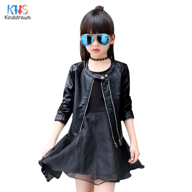 Kindstraum 2018 New Thick Kids Solid PU Leather Jackets Brand Children O-neck Long Sleeve Coats Winter Outwear for Girls,RC1082 winter men jacket new brand high quality candy color warmth mens jackets and coats thick parka men outwear xxxl