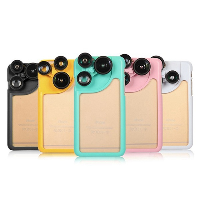 3 in 1 Fish Eye Wide Angle Doubling Mobile Phone Camera Lens + Protection Case Back Cover For iPhone 6 4.7 Inch For Apple