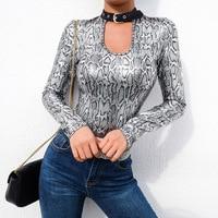 Women Long Sleeve Bodysuits Bodycon Jumpsuit Silver Glitter Snake Print Bodysuit Punk Halter Backless Sexy Body Secret