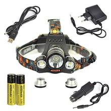 Boruit RJ-5001 3 * 8000LM XM-L L2 LED Faro Recargable USB Led Head Lamp Light + Cargador de Coche/Cable USB + 2×18650 batería