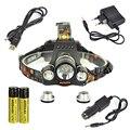 Boruit rj-5001 10000lm faro 3 * xm-l l2 led usb recargable Led Head Lamp Light + Cargador de Coche/Cable USB + 2x18650 batería