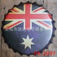 35 cm Australia Flag Kapsel Vintage Home Decor Plakietka Emaliowana Bar Pub Dekoracje Ścienne Dekoracje Ścienne Metalowe Znak 3D Metal Tablica Metalowa plakat