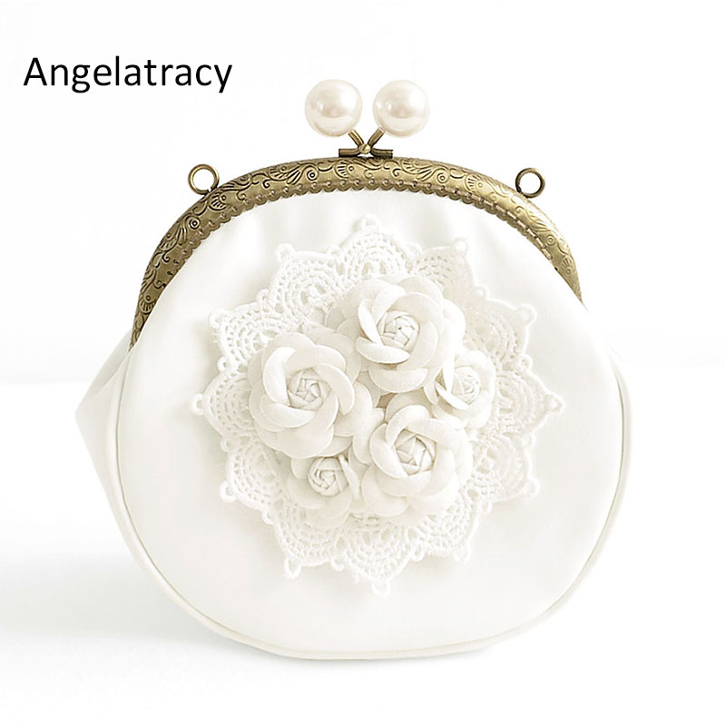 Angelatracy 2018 Handmade Small Mini Bag White Lace 3d Flower Vintage Pearl Mouth Gold Package Hasp Shoulder Bag Crossbody BagsAngelatracy 2018 Handmade Small Mini Bag White Lace 3d Flower Vintage Pearl Mouth Gold Package Hasp Shoulder Bag Crossbody Bags