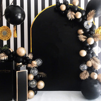 Engagement Anniversary Black Ballon Garland Birthday Party Decoration Adults Metallic Gold Latex Ballon Banner With Gold Leaves
