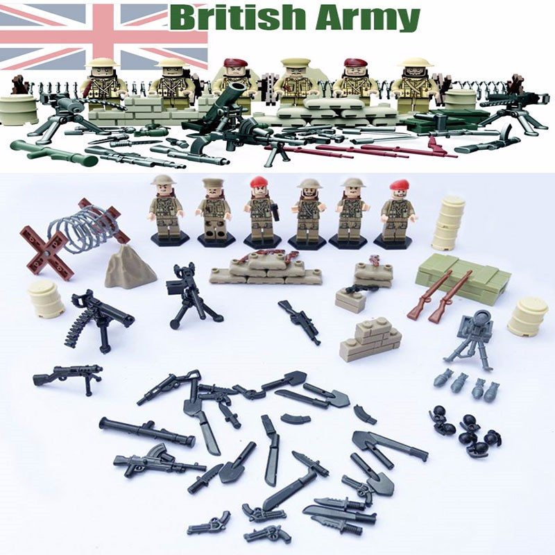Oenux WW2 Military UK British 8th Army North African Campaign Figures Building Block Military Model Bricks Educational Kid Toys bryan perrett british military history for dummies