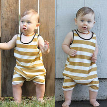2017 New Cute Summer Newborn Baby Boy Girl Clothes Sleevless Yellow Striped Romper Jumpsuit Baby Sunsuit