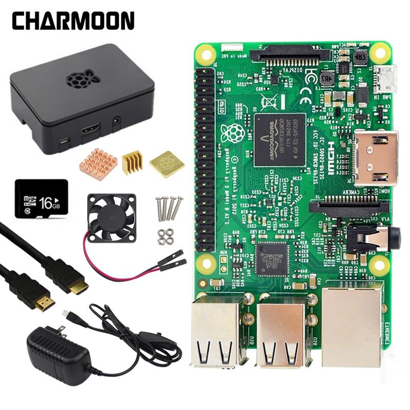 Original Raspberry Pi 3 Modèle B Kit 5V3A alimentation + 16G SD Carte + ABS Cas + ventilateur + dissipateur de chaleur + Câble HDMI + 5MP Caméra