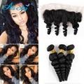 Peruvian Virgin Hair Loose Wave with Peruvian Lace Frontal 4 Bundles Peruvian Hair with Frontal 100 Human hair Loose Wave bob