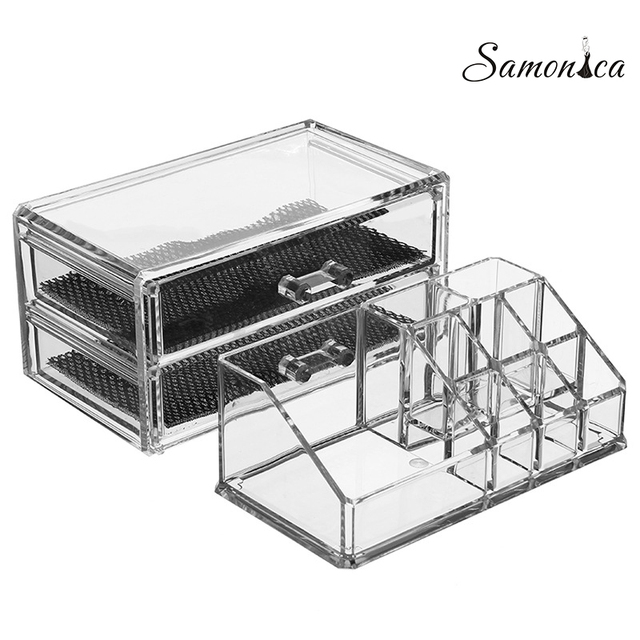 Acrylic Black  Bottom Multi-function Jewelry Box Lipstick Nail Eyebrow Pencil Organizer Cosmetic Storage Case Display Rack