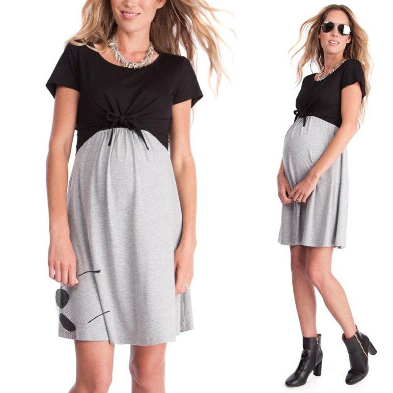 Elegant Summer Maternity Dresses O-neck Patchwork Dress clothes For Pregnant Women Bow Pregnancy Clothing B0442