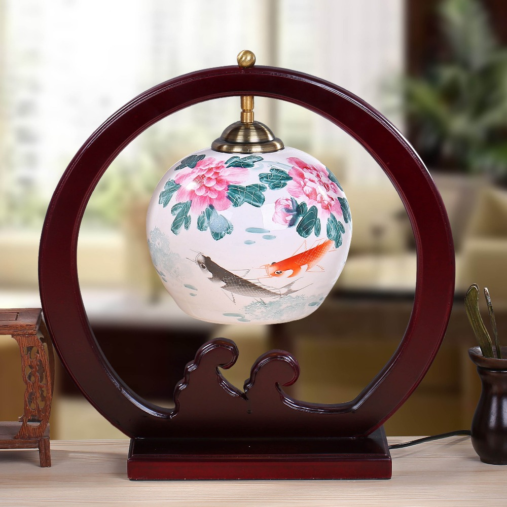 Fish jingdezhen chinese porcelain ceramic table lamp - Porcelain table lamps for living room ...