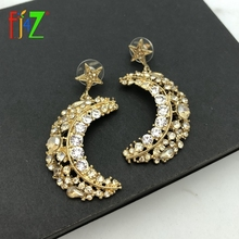 F.J4Z Hot Women Luxury Earrings Fashion Sparkling Crystal Moony Stars Pendant Party Jewelry Bijoux Wholesale