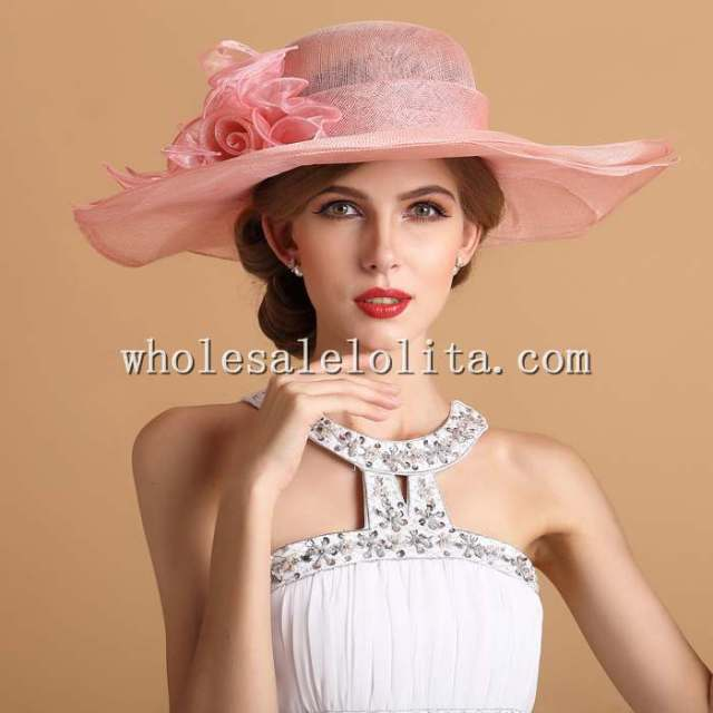 New British Royal Double Layered Big Brim Rose Kentucky Derby Hat