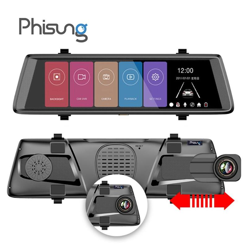 Phisung F900 10 Touch Sreen 1080P FHD Car Rearview Mirror DVR Camera G-sensor Dash Cam Portable Drive Recorder Parking Monitor plusobd car recorder rearview mirror camera hd dvr for bmw x1 e90 e91 e87 e84 car black box 1080p with g sensor loop recording
