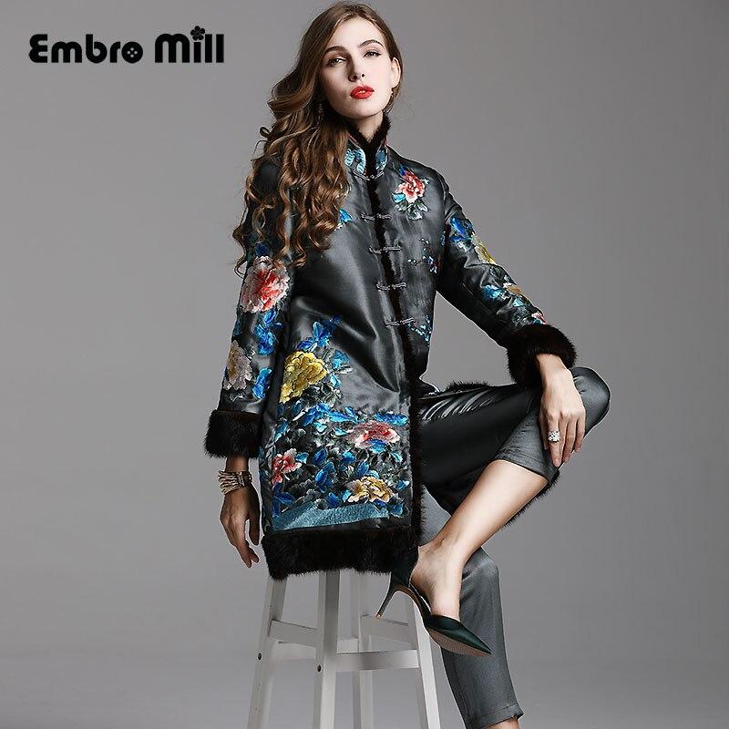 High-end de outono inverno mulheres Blusão Casaco bordado do vintage fino casaco M-XXL