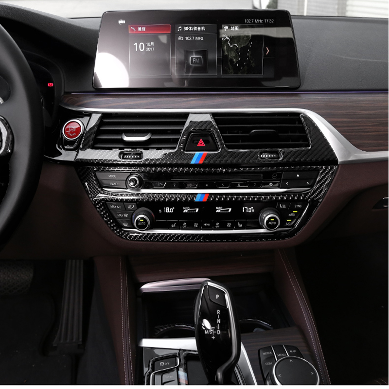 For bmw G30 G38 6GT Interior Trim Carbon Fiber Air conditioning CD control panel decoration Cover Car styling 5 series accessory