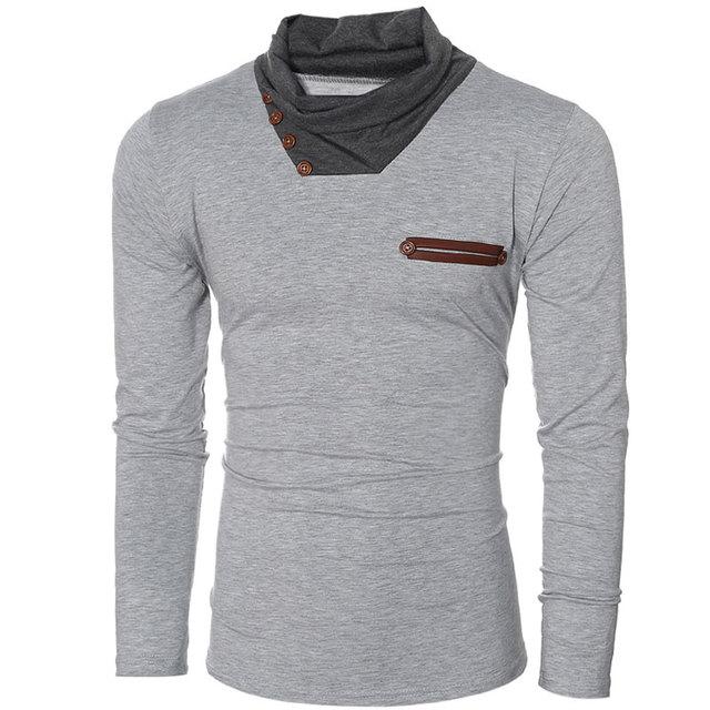 Colors T Shirt 2 Fjun Long Men Basic Men's Slim Sleeve Young Oym8vN0nw