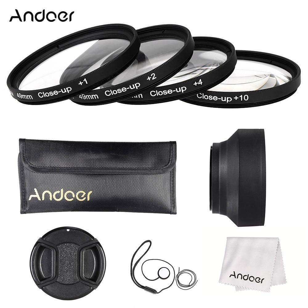 Andoer 49 мм камеры набора закрыть - до + 1 + 2 + 4 + 10 макро-объектив комплект фильтров с объектива капот крышка очистки ткань
