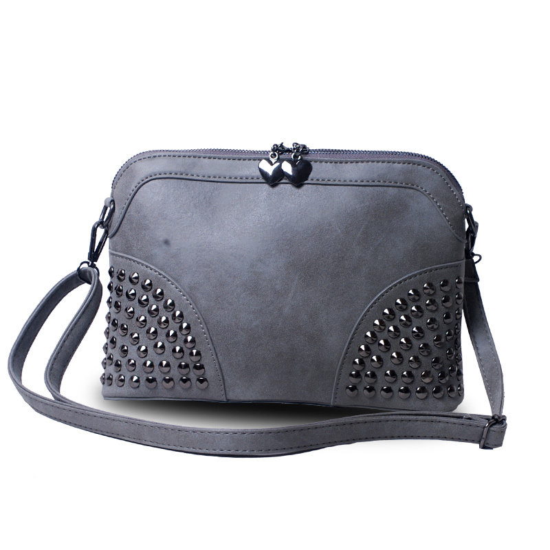 Nubuck Leather Shell Bag Women Trendy Fashion Chain Hand Bag Designer Chic Rivets Ladies Shoulder Bag