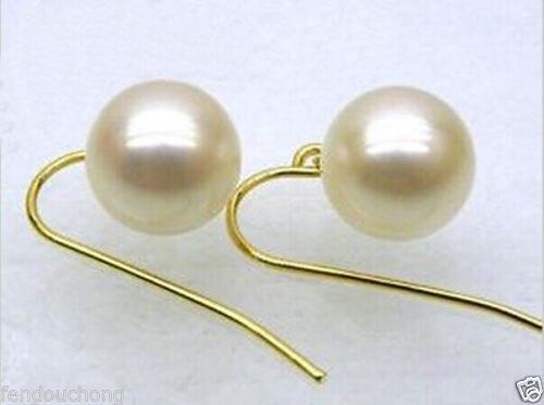Vente chaude nouveau-hj 00333 Parfait ronde 9.5-10 mmAAA + blanc mer du sud perle boucles d'oreilles avec 14 k